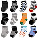 12 Pairs Assorted Baby Toddler Socks with Grips Non Skid Anti Slip Cotton Ankle Socks for Walker Kids 12-24 Months (Assorted - A)