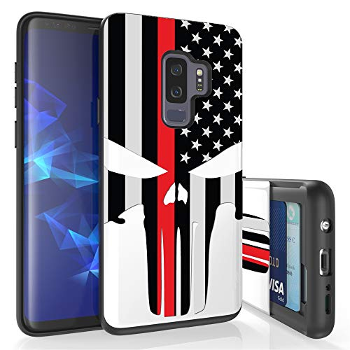 Beyond Cell Slim Dual Layer Wallet Case for Galaxy S9 Plus, Card Slot + Wireless Charging Compatible - Thin Red Line Spartan -