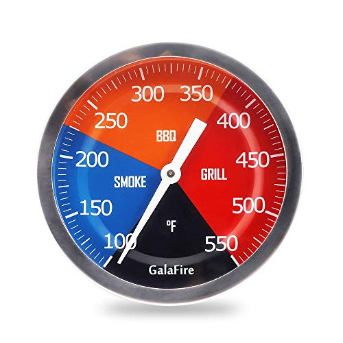 GALAFIRE 3 3/16 inch Large Face 550°F BBQ Grill Thermometer Wood Smoker Temp Gauge with Lengthened 2 7/8 inch Stem for Barbecue Meat Cooking (Best Bbq Pit Thermometer)