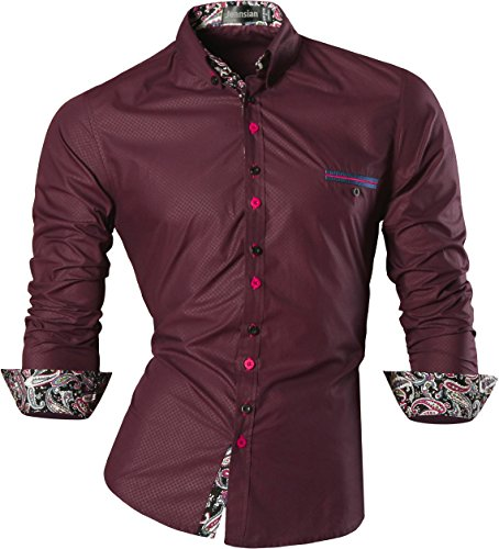 jeansian Men's Slim Retro Printed Long Sleeves Button Down Dress Shirts Z027 WineRed M