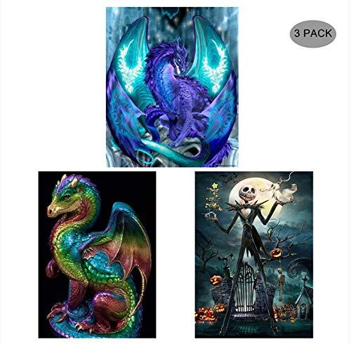 5D Diamond Painting Kit Full Drill,EVERMARKET DIY Rhinestone Embroidery Cross Stitch Arts Craft Wall Decor Gift, 11.8''X15.7'' (3 Pack-Deep Blue Dinosaur,Colorful Dinosaur,Jack Skull)