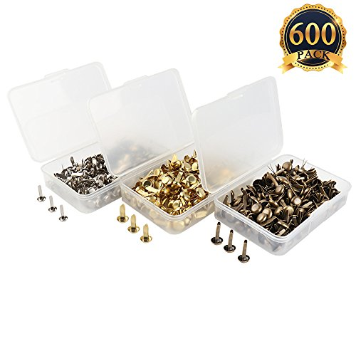 SUBANG 600 Pieces Paper Fasteners Brass Plated Scrapbooking Brads Round Metal Brads With Storage Box For Crafts Making DIY, Gold Silver and Bronze Gold Scrapbooking Brads