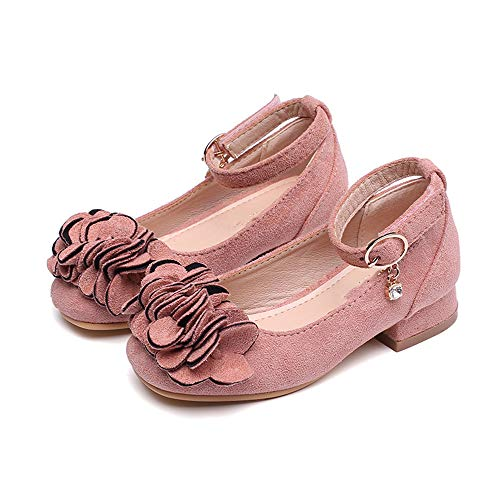 Fancyww Mary Jane Shoes with Pretty Satin Rolled Rosettes Suede(Pink-28/11 M US Little Kid)