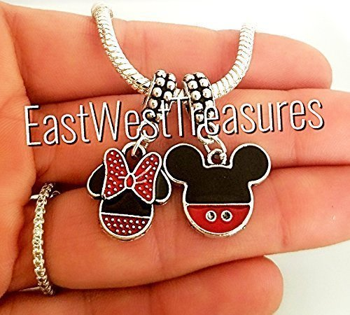 EWT Mickey and Minnie Icon charm/mickey head ears red pants, minnie loves Mickey, Mickey and minnie Charm pendant for all brand and European charm bracelets & Any chain necklace