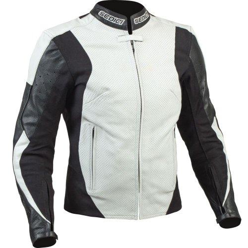 SEDICI Women's Mona Leather Motorcycle Jacket - 12, Black/White
