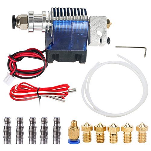 All-Metal V6 J-Head Hotend Full Kit with 5 Pcs Extruder Brass Print Head + 5 Pcs Stainless Steel Nozzle Throat for E3D V6 Makerbot RepRap 3D Printers by YaeCCC