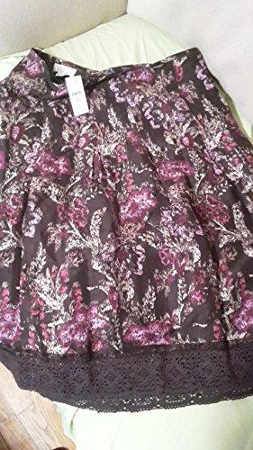 Ann Taylor LOFT Brown/Tan/Purple Floral Pattern Size 10 Skirt