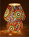 CraftVatika Multicolour Mosaic Style Dome shaped Glass Antique Table Lamp Solar Night Lights for Home Living Room