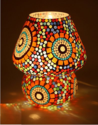 CraftVatika Multicolour Mosaic Style Dome shaped Glass Antique Table Lamp Solar Night Lights for Home Living Room by CraftVatika