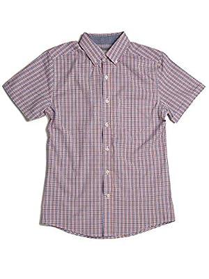 Haggar Men's Short Sleeve Plaid Button-Down Woven Shirt