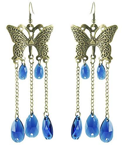 (1set Butterfly Chain Blue Water Drop Bead Cute Women Dangle Hook Earrings New)