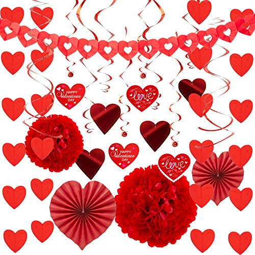 JOYIN Valentines Day Decoration Kit with 1 Heart Shaped Garland, 2 Tissue Fans, 2 Tissue Poms, 6 Heart String Decorations, 8 Double Swirls and 4 Foil Cutouts Swirls and 4 Cardstock Cutouts Swirls -