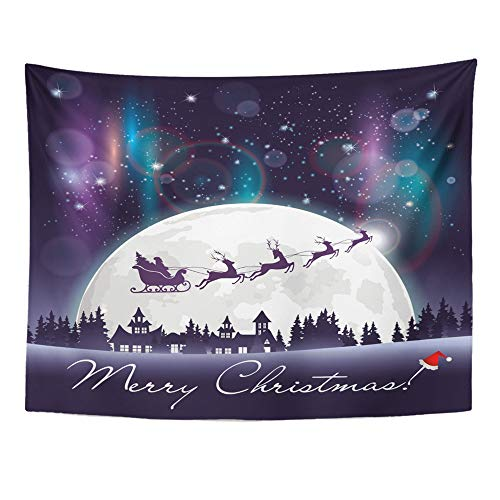 """Emvency Tapestry Wall Hanging Santa Sleigh Flying Over The Town and Woodland at Starry Sky Full Moon Northern 60"""" x 80"""" Home Decor Art Tapestries for Bedroom Living Room Dorm Apartment"""