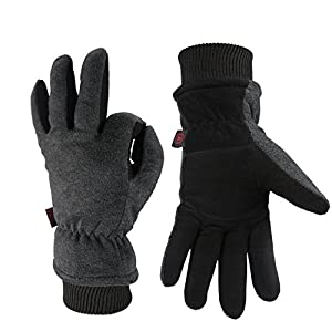 OZERO Winter Gloves, -40°F Cold Proof Leather Ski Snow Work Glove |Deerskin Suede Palm and Polar Fleece Back with Heatlok Insulated Cotton| Windproof & Waterproof - Warm hands for Women/Men - Gray(L)
