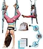 Aerial Yoga Swing - [UPDATED EDITION] Gym Strength Antigravity Yoga Hammock - Inversion Trapeze Sling Equipment with Two Extender Hanging Straps - Blue Grey Swings & Beginner Instructions Guide