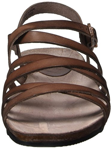 Riemchen Mujer Sandale Sandalias La Brown dark Gladiador Marrón Para Fred Bretoniere De qxHS1tq