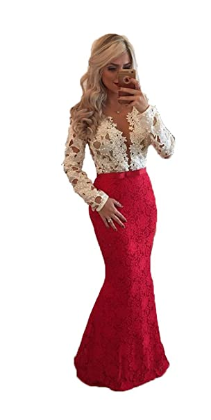 fc92ece614 Dislax Scoop Long Sleeves Lace Mermaid Prom Dresses Evening Gowns Red US 2