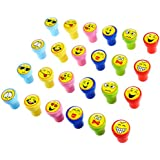 TOYMYTOY 24Pcs Plastic Stamps Emoji Stampers
