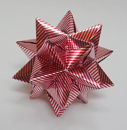 Medium Christmas Star, Christmas Ornament, Red Silver Star Ornament, Origami Star, Origami Ornament, Silver Red Star ()