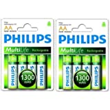 8 x PHILIPS AA 1300mAh RECHARGEABLE BATTERIES 1.2V