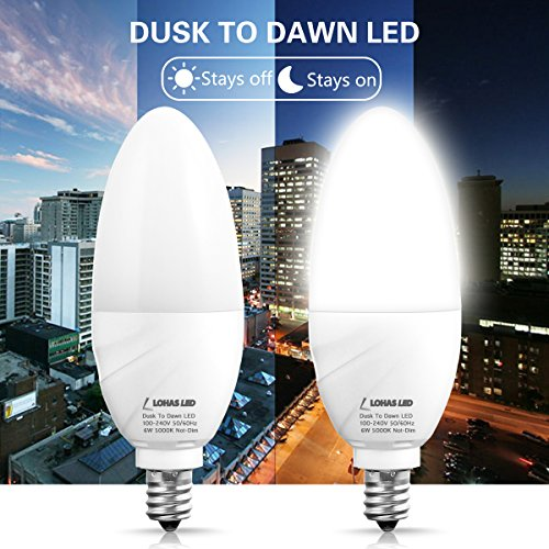 LOHAS Candelabra Light Bulbs E12 Base LED 6W, 60W Equivalent Light Sensor Dusk to Dawn Bulb, Automatic On/Off Daylight White 5000K, Indoor Outdoor Smart Lighting for Porch Hallway Garden(2Pack)
