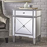 Great Deal Furniture 302363 Nelson Silver Finished Mirrored 2 Drawer Cabinet with Faux Wood Frame, Multicolor