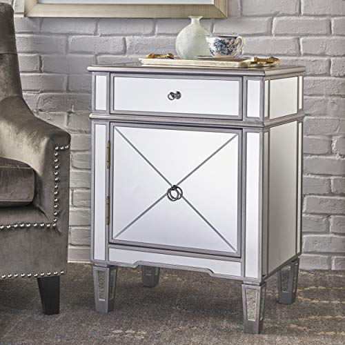 Christopher Knight Home Nelson Silver Finished Mirrored 2 Drawer Cabinet with Faux Wood Frame, Multicolor (Gold Mirrored Nightstand)