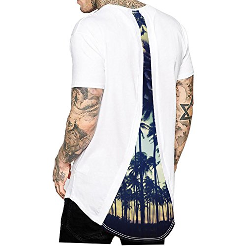 ADAHOP Men's Tee, Men Cotton Tops Trees Print Blouse White T-Shirt