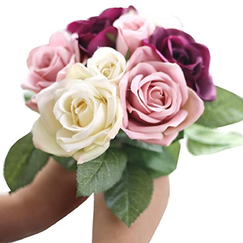 Ikevan 9 Heads Artificial Flowers Roses Silk Fake Flower Leaf Bridal Bouquet Home Wedding Floral Decor (Beige)