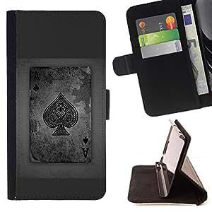 BullDog Case - FOR/Apple Iphone 5C / - / ace spades grey poker gambling cards /- Monedero de cuero de la PU Llevar cubierta de la caja con el ID Credit Card Slots Flip funda de cuer