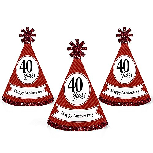 We Still Do - 40th Wedding Anniversary - Mini Cone Anniversary Party Hats - Small Little Party Hats - Set of ()