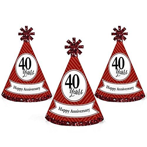 We Still Do - 40th Wedding Anniversary - Mini Cone Anniversary Party Hats - Small Little Party Hats - Set of 10