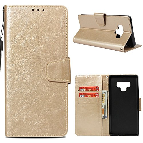 Galaxy Note 9 Case, Wallet Flip Folio Case Kickstand Card Slots Elegant Pure Color PU Leather Wallet Case Shockproof Soft TPU Inner Bumper Slim Protective Skin Cover Samsung Galaxy Note 9