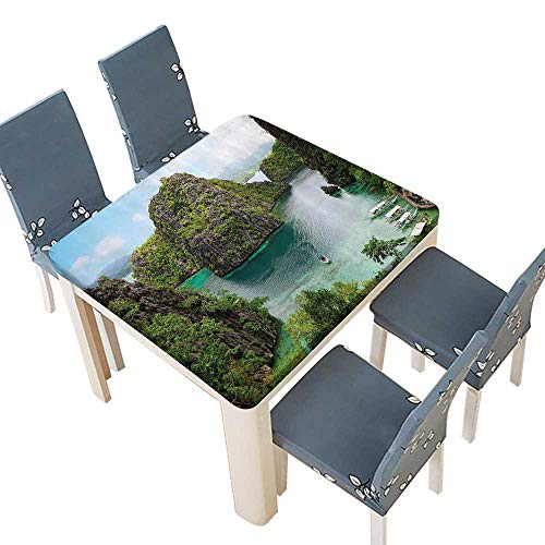 PINAFORE Decorative Tablecloth Landscape of Majestic Cliff in Philippines Wild Hot Nature Resort Assorted Size 57 x 57 INCH (Elastic Edge)