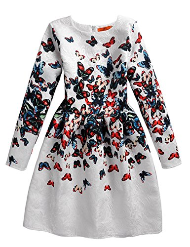21KIDS Butterfly Print Girl Wedding Party Autumn Long Sleeve-butterfly Dresses,8
