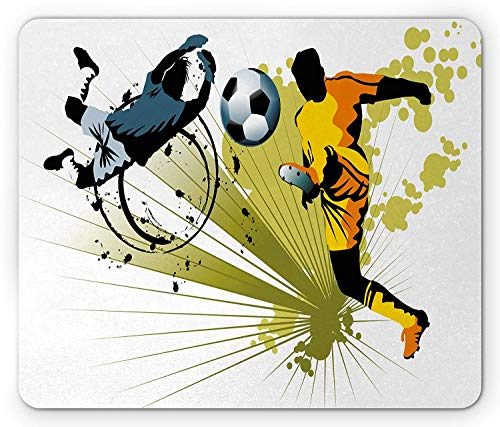 Sports Mouse Pad, Soccer Player Attack Gate of The Opponent Jumping Goalkeeper Abstract Colorful Motif, Standard Size Rectangle Non-Slip Rubber Mousepad, Multicolor (Soccer Control Keeper)