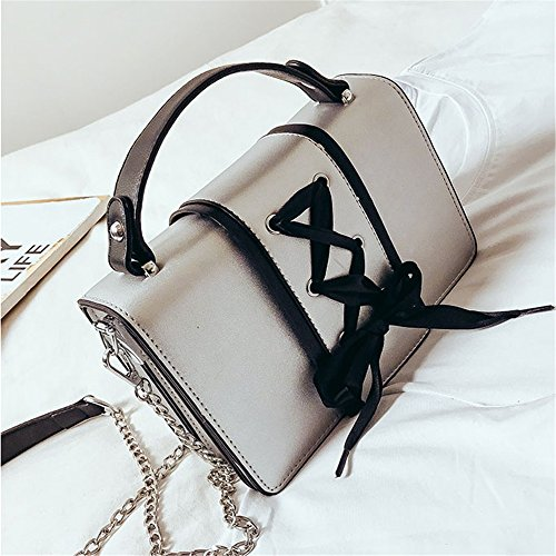 Plata PU Square Bag Decoración Bag Retro Shoulder Ocio Messenger Cinta Simple Magnética qOTSvc