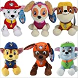 6PCS Kids Gift, Cartoon Plush, Pet Plush, 8'', Set of 6 styles, Zuma Skye Rubble Rocky Marshall Chase