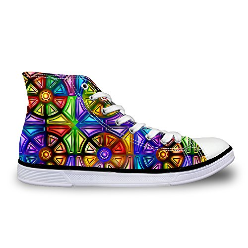 FOR U DESIGNS Glitter Plaid High-Top Lace Up Outdoor Fashion Sneaker for Women US 8