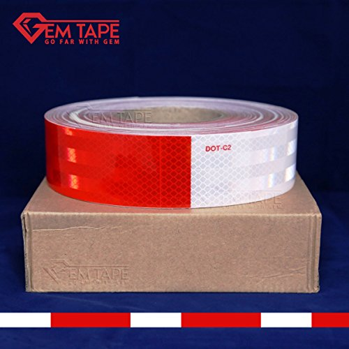 Gem Tape Premium Reflective Tape DOT Conspicuity Tape Comparable to 3M Diamond Grade (2 In. x 30 Ft.) by Gem Tape