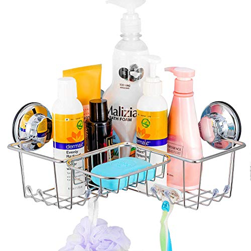 SANNO Suction Corner Shower Caddy with Soap Dish, Corner Bath Shelf Storage Combo Organizer with 8 Hooks, No Damage Suction Cup,Rustproof Wire Basket for Kitchen & Bathroom Accessories (Combo Basket Corner)