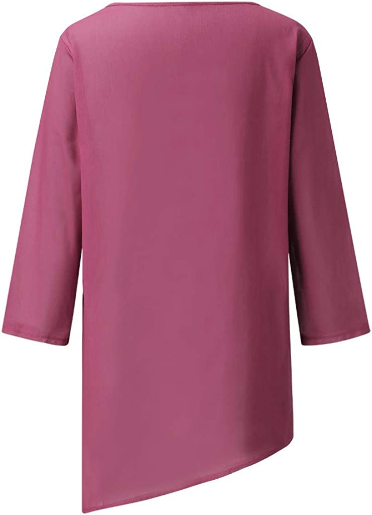VEMOW Camiseta Mujer Tops T-Shirt Moda Cuello Redondo/Talla Grande Impresi/óN Manga Larga Suelto Camisa Blusa Chaqueta De T/úNica Oto/ñO Primavera Nueva