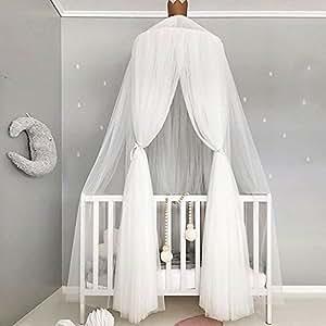 Awhao Mosquitera multiusos con redondos de encaje Niños Domo Fantasy Champion Cortinas de malla Play Tent Bed Canopy