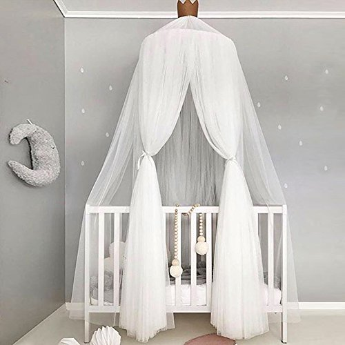 Bed Canopy for Girls/Boys/Baby Games House, Mosquito Net for Bed Kids Playing/Reading, Round Dome Netting Curtains Mosquito Net Bed Canopy Play Tent (White) by PROKTH