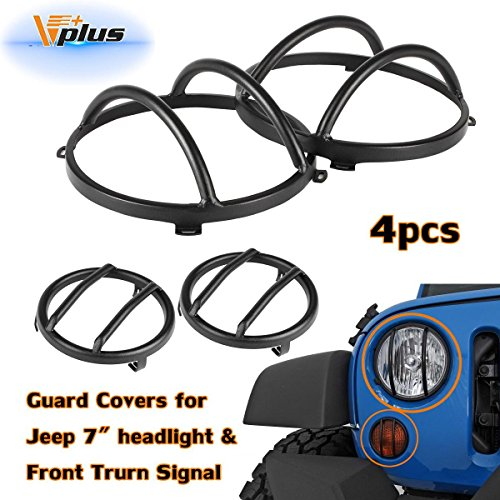 Vplus Black Stainless Steel Guard Covers Kit Front Headlight & Front Signal Protectors Compatible with Jeep Wrangler JK Rubicon Sahara Sport 2/4 Door 2007-2016(4PCS/Set)