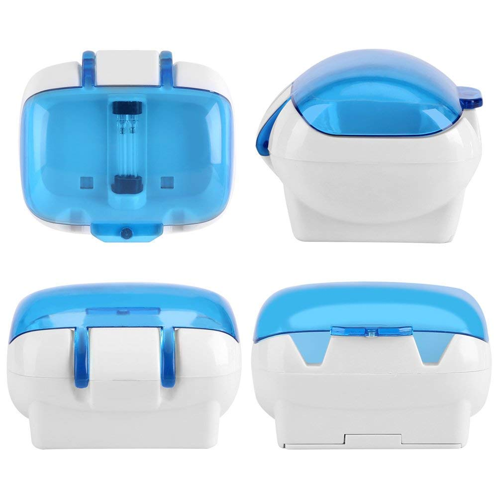MIFAVOR UV Toothbrush Holder Wall Mounted, UV Light Portable Toothbrush Sterilizer Battery Operated with Suction Cup and Power Adhesive Support Screws Drilling