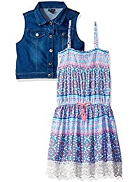 Girls' Sundress With Denim Vest