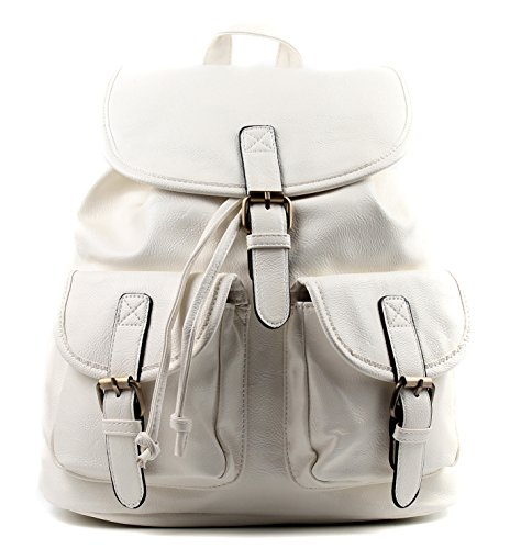 White Vintage Leather Faux Rucksack Ladies School Aossta Bag Backpack College wfaAzgq