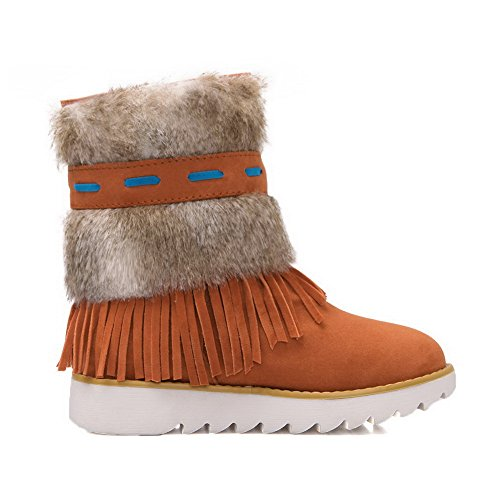 Leather Womens Lining Heels Closed Warm Fringed A Ankle Toe Orange DKU01781 Smooth Low Closure amp;N Suede Boots Urethane Wrap AN Boots No aEPOxx
