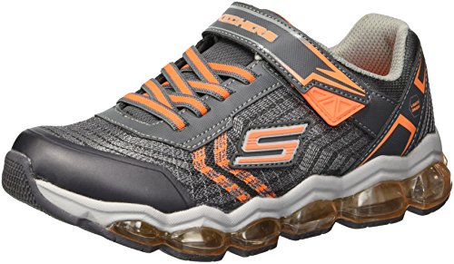 Skechers Kids Boys' Turbo-Flash Sneaker,Charcoal/Orange,2 Medium US Little ()